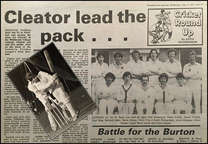 1980's Evening News & Star cricket report by Keith Richardson - The start to becoming an East Midland press photographer