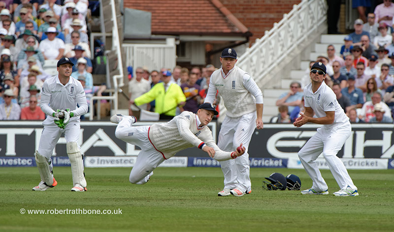 Joe Root takes a catch in the slips at the Ashes game at Trent Bridge. Pic © Robert Rathbone, East Midland press photographer