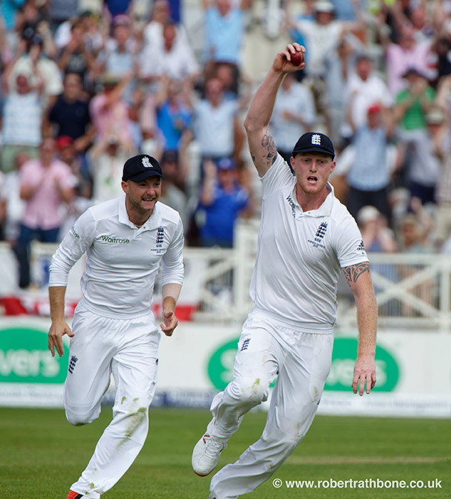 Ben Stokes celebrates a catch in the Ashes at Trent Bridge with Adam Lyth. Pic © Robert Rathbone, East Midland press photographer