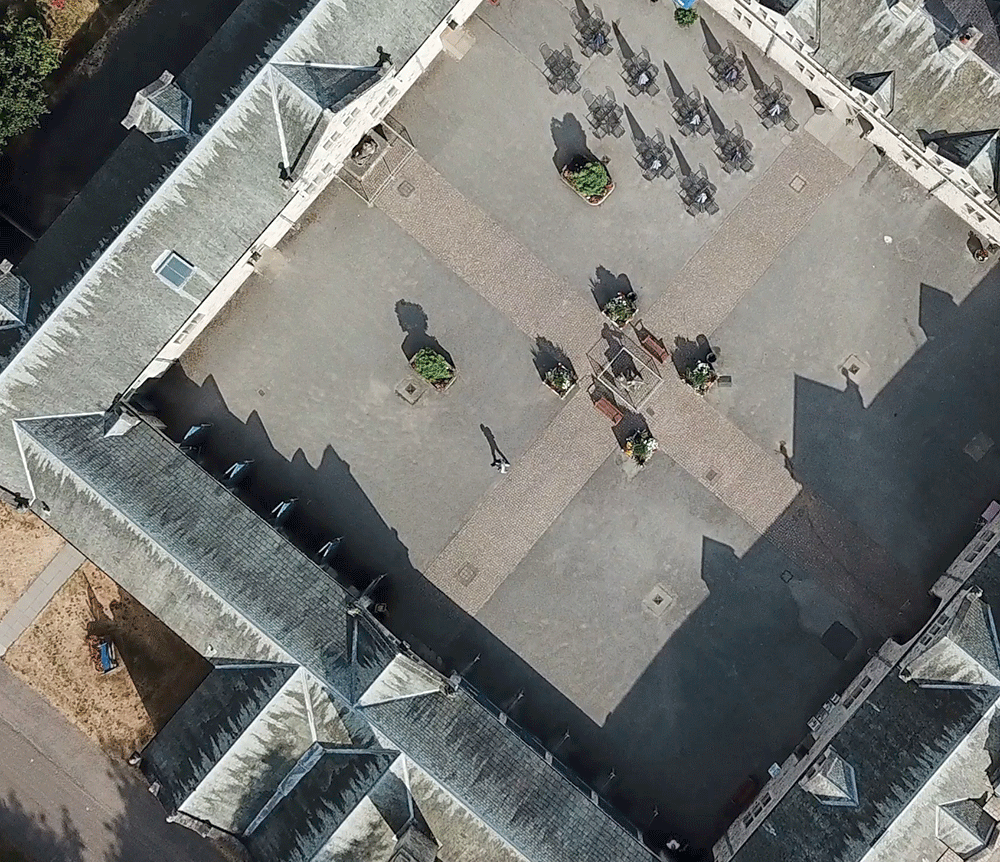 Commercial drone pilot Robert Rathbone's picture of The courtyard at Thoresby Hall, Nottinghamshire